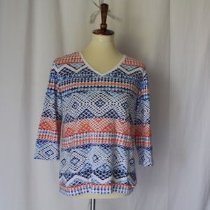 Chico's Vneck sz 1 pullover shirt top